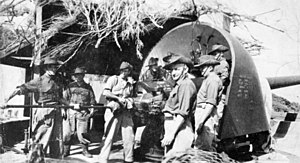 "Fort Pearce - ""C"" Company 5th Battalion Volunteer Defence Corps (VDC) with 6 inch gun, April 1944 at Cheviot Hill"