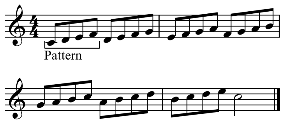 Four note ascending melodic pattern