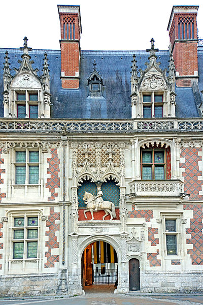 PLEASE, NO invitations or self promotions, THEY WILL BE DELETED. My photos are FREE to use, just give me credit and it would be nice if you let me know, thanks.  This wing, of red brick and grey stone, forms the main entrance to the château, and features a statue of the mounted king, Louis XII, above the entrance.