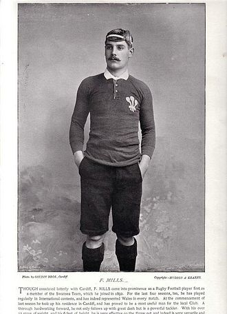 Frank Mills (rugby union) - Mills in Wales shirt (1895)
