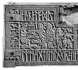Anglo-Saxon paganism - The right half of the front panel of the seventh century Franks Casket, depicting the pan-Germanic legend of Wayland the Smith, which was apparently also a part of Anglo-Saxon pagan mythology.