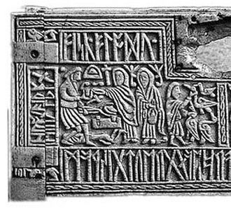 Anglo-Saxon runes - The left half of the front panel of the 7th century Franks Casket, depicting the Germanic legend of Weyland Smith and containing a riddle in Anglo-Saxon runes.