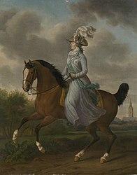 Tethart Philipp Christian Haag: Equestrian Portrait of Wilhelmina of Prussia, Consort of Prince William V (Frederika Sophia Wilhelmina)
