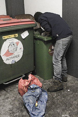 English: Freegan during dumpster diving Deutsc...