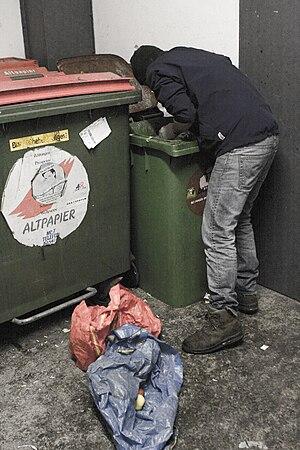 Freeganism - Freegan while dumpster diving.