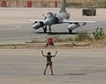 French Air Force Dassault Mirage 2000C being marshalled at N'djamena Airport.jpeg