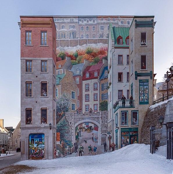 File fresque des qu b cois mural petit champlain qu bec for Mural quebec city