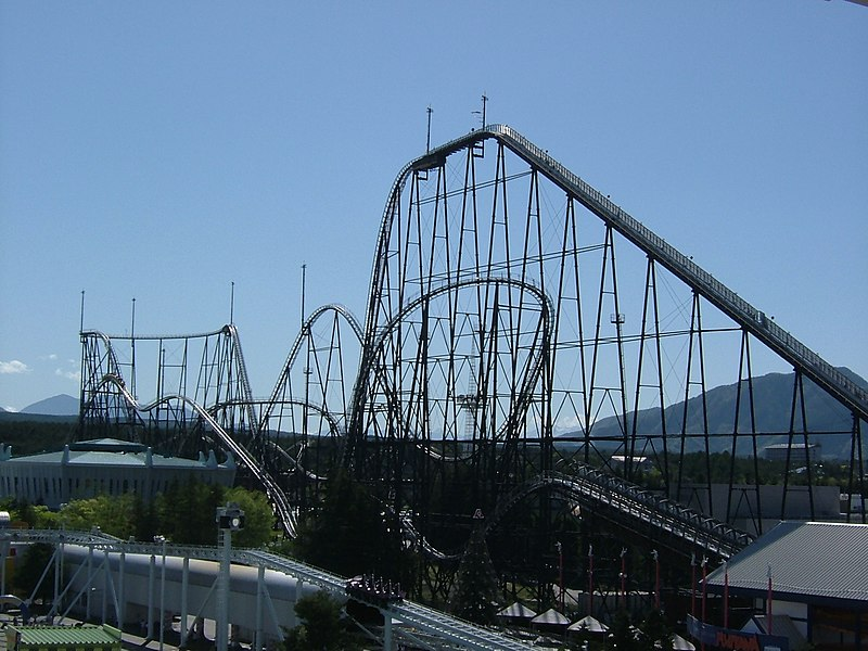 Fujiyama Rollercoaster at the Fuji-Q Highland amusement park in Japan