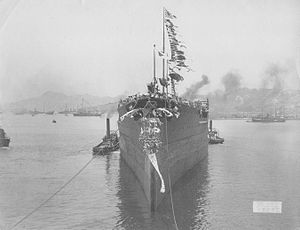 Japanese battleship Fusō - Launch of Fusō, March 28, 1914