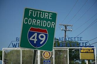 Interstate 49 - Future corridor I-49 sign in Lafayette, LA