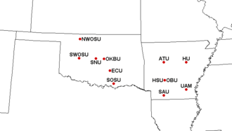 Great American Conference - Locations of Great American Conference member institutions