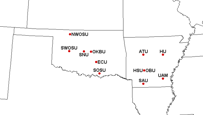 Locations of Great American Conference member institutions GACLocations.png