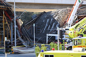 Gungahlin Drive Extension - GDE Bridge after the collapse