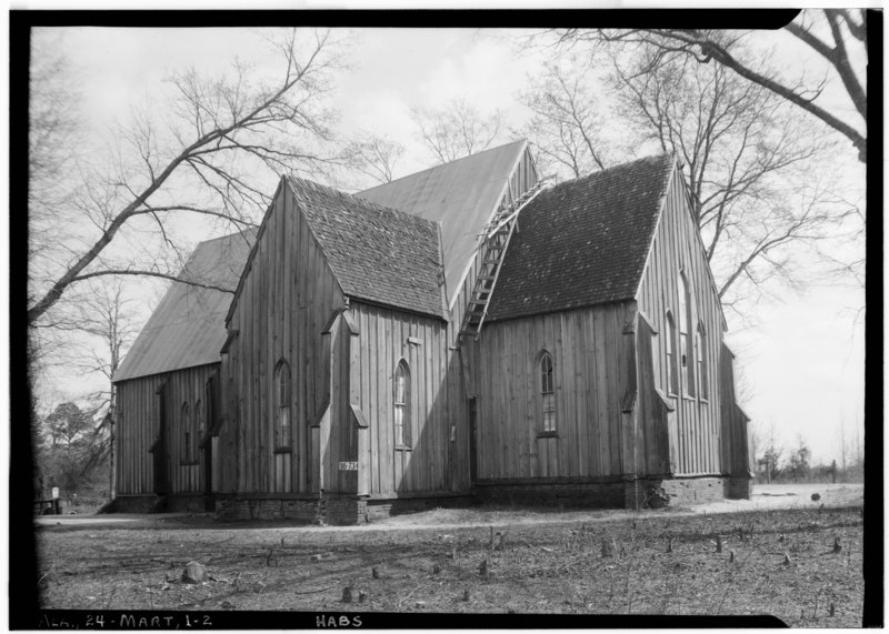File:GENERAL SIDE AND REAR VIEW. - NORTH AND WEST - St. Luke's Episcopal Church, (Moved from Cahaba, AL), Martin, Dallas HABS ALA,24-MART,1-2.tif