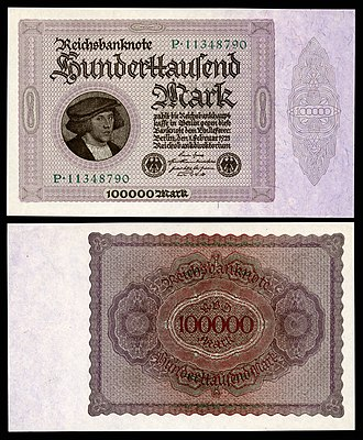 Portrait of Georg Giese - Giese's portrait was depicted on the 100,000 mark banknote of 1923.