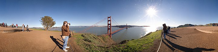 A 180° panorama of the San Francisco Golden Gate Bridge as viewed from the Marin Headlands.