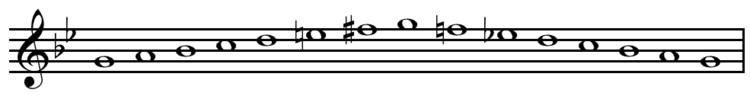 G melodic minor scale ascending and descending