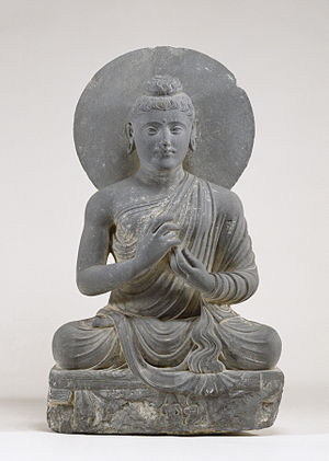 Gandharan - Seated Buddha in the Attitude of Preaching - Walters 25123.jpg