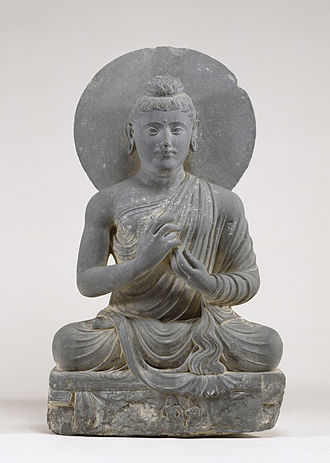 Attitude (art) - Seated Buddha in the Attitude of Preaching, 2nd-century Gandharan art: the hand gesture (mudra) indicates that the Buddha is delivering a sermon
