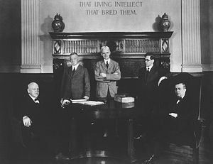 Fielding Hudson Garrison - Five Johns Hopkins University staff: L to R, Standing: Fielding H. Garrison, John Rathbone Oliver, and Owsei Temkin; Seated: William Henry Welch and Henry E. Sigerist; Photo ca. 1932.