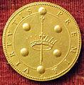 Gasparo mola, medaglia di cosimo II de' medici, verso con corona scettro e palle medicee(oro).JPG