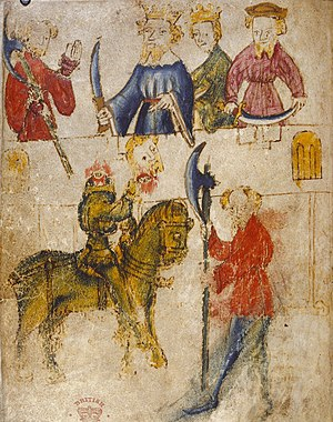 "Guisarme - Illustration of a scene from Sir Gawain and the Green Knight, showing an axe-shaped ""giserne""."