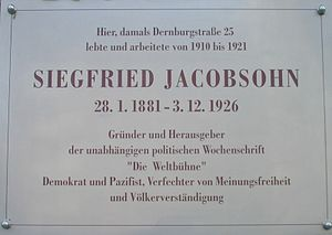 Siegfried Jacobsohn - Commemorative plaque of Siegfried Jacobsohn in Berlin