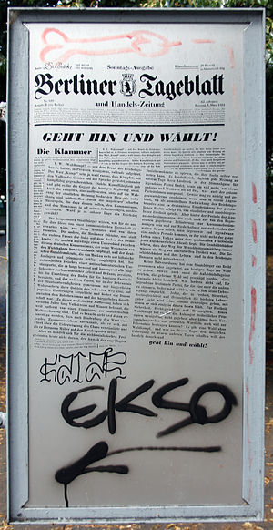 "Theodor Wolff - A memorial tablet, in Berlin, to Theodor Wolff—with low-level graffiti—carrying the urgent injunction, ""Get out and vote!"""