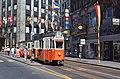 Genève tram at a stop on Rue de la Confédération in 1978.jpg