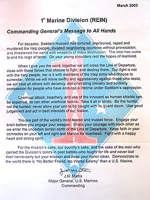 Jim Mattis - Letter written by Mattis on the eve of the 2003 invasion of Iraq, addressed to members of the 1st Marine Division.