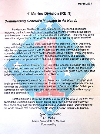1st Marine Division (United States) - Letter by Gen Mattis distributed throughout division before the 2003 invasion of Iraq