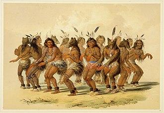 Bear Dance - George Catlin, Bear Dance, hand-colored lithograph, 1844, Buffalo Bill Center of the West.