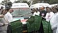 Ghulam Nabi Azad flagging off the 'Nagu-Magu', an ambulance service for pregnant women, in the presence of the Chief Minister of Karnataka, Shri K. Siddaramaiah, at Bangalore on January 20, 2014.jpg