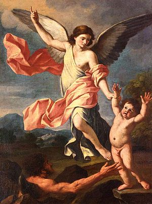 Giacinto Gimignani - Angel and Devil fight for soul of child