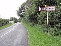 Gibercourt (Aisne) city limit sign.JPG