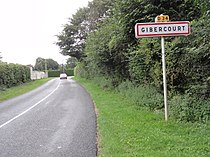 Gibercourt (Aisne) city limit sign.JPG