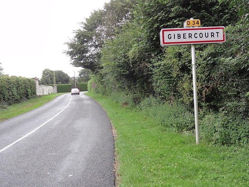 Gibercourt (Aisne) city limit sign