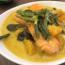 Ginataang kalabasa at hipon (shrimp, calabaza, green beans, and eggplant in coconut milk) - Philippines.jpg