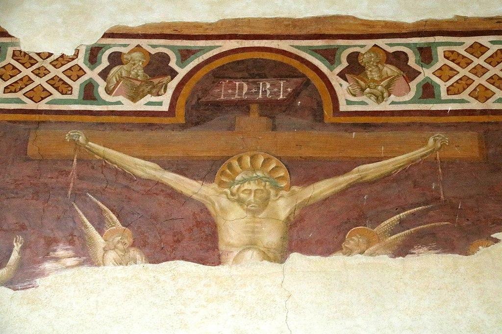 Giovanni di Paolo, Crocifissione (particolare Cristo), affresco, L' eremo di San Leonardo al Lago, Siena
