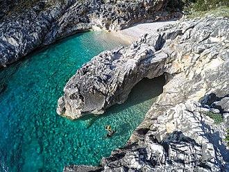 Karaburun-Sazan Marine Park - Gjiri i Skalomës. Numerous bays are located on the western shore of the Peninsula.