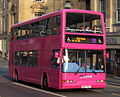 Go North East bus 3863 Dennis Trident East Lancs Lolyne W863 PNL The Angel incomplete livery in Newcastle 3 April 2009.JPG