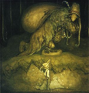 Fantastic art - Illustration for The boy and the trolls by John Bauer, 1915