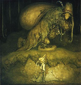 "Romantic nationalism - ""'Good evening, uncle!' said the boy"". A drawing by John Bauer on Swedish folklore"