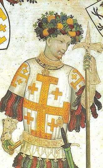 Pollaxe - Godfrey of Bouillon holds a short Lucerne hammer. Anachronistic fresco dated 1420.
