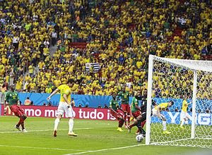 Charles Itandje - Fred scoring a goal for Brazil as Itandje looks on alongside his compatriots during a group stage match at the 2014 FIFA World Cup