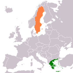 Map indicating locations of Greece and Sweden