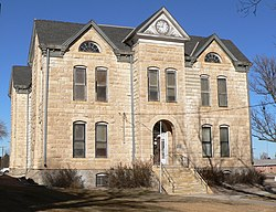 Greeley County, Kansas old courthouse from S 3.JPG