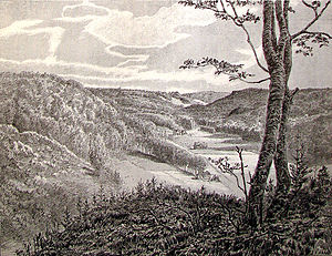 Grejs River - 19th-century drawing of Grejs Valley by Niels Andreas Bredal