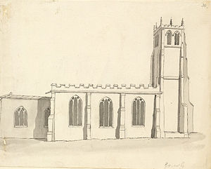 Church Gresley - St George and St Mary's Church, drawn by Samuel Hieronymus Grimm (18th century)