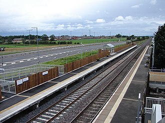 Gretna Green railway station - Image: Gretna Green railway station looking west in 2008
